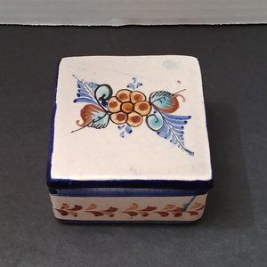 Hand Painted Ceramic Trinket Box with Lid Signed